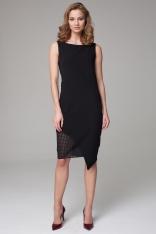 Czarna Asymetryczna Midi Sukienka z Ażurową Wstawką