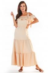 Długa Sukienka w Hiszpańskim Stylu - Beżowa