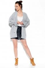 Jasnoszary Oversizowy Sweter Typu Kardigan z Wiązaniem na Rękawie