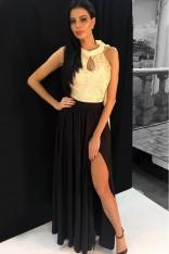 Czarna Sukienka Wieczorowa Maxi z Gipiurą