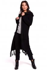 Czarny Płaszczowy Kardigan z Frędzlami
