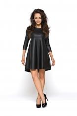 Czarna Trapezowa Sukienka z Eko-skóry