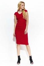 Czerwona Wyjściowa Dopasowana Sukienka Marszczona na Boku