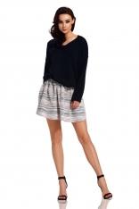 Czarny Oversizowy Sweter z Ozdobnym Splotem