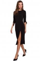Wizytowa Sukienka z Rozcięciem na Boku w Czarnym Kolorze