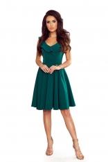 Rozkloszowana Sukienka z Falbankami na Dekolcie - Zielona