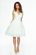 Kremowa Wyjątkowa Sukienka z Kopertowym Dekoltem z Tiulowym Dołem