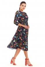 Granatowa Klasyczna Rozkloszowana Sukienka z Kolorowym Wzorem