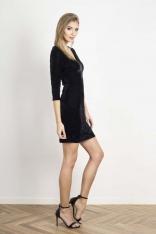 Czarna Dopasowana Sukienka Welurowa z Dekoltem V