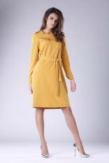 Kamelowa Rozkloszowana Sukienka Zdobiona Dżetami