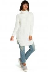 Ecru Wygodny Długi Sweter z Golfem