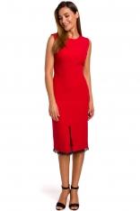 Czerwona Dopasowana Sukienka z Koronką