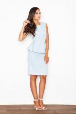 Błękitna Efektowna Sukienka z Baskinką
