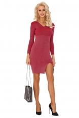 Czerwona Kopertowa Sukienka z Prążkowanej Dzianiny