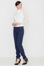 Granatowe Spodnie z Kokardką