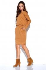 Kamelowa Dresowa Sukienka z Kieszeniami