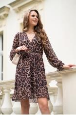 Zwiewna kopertowa sukienka w Panterkę