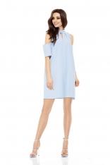 Wizytowa Sukienka o Linii A z Wyciętymi Ramionami - Błękitna