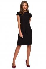 Minimalistyczna Ołówkowa Sukienka z Przeszyciami - Czarna