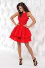 Czerwona Sukienka Koktajlowa Mini z Falbankami