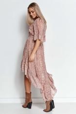 Wzorzysta Asymetryczna Sukienka z Falbankami - Wzór 17