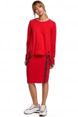 Asymetryczna Bluza z Lampasami - Czerwona
