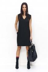 Czarna Prosta Midi Sukienka bez Rękawów z Kieszeniami