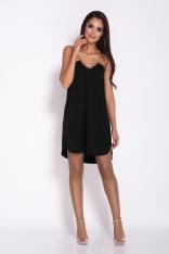 Czarna Elegancka Luźna Sukienka z Wydłużonym tyłem na Wesele