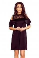 Czarna Sukienka z Odkrytymi Ramionami z Koronką