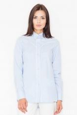 Błękitna Klasyczna Koszula z Lamówkami