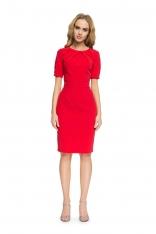 Czerwona Ołówkowa Wyjściowa Sukienka z Zakładami przy Dekolcie
