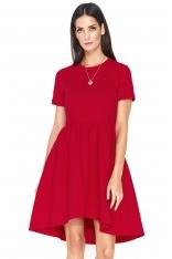 Czerwona Asymetryczna Sukienka z Krótkim Rękawem