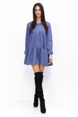 Granatowa Sukienka Luźna Oversizowa Mini na Długi Rękaw