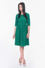 Zielona Sukienka Rozkloszowana z Rękawami do Łokcia