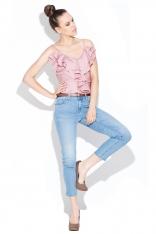 Różowa Elegancka Bluzka na Ramiączkach