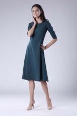 Zielona Rozkloszowana Sukienka Wizytowa z Zaznaczoną Talią
