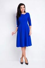 Niebieska Sukienka Rozkloszowana Midi z Asymetrycznym Dekoltem