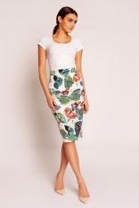 Biała Elegancka Spódnica Midi w Kolorowe Motyle