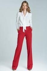 Czerwone Eleganckie Spodnie w Kant z Mankietem