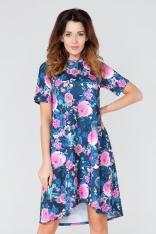 Rozkloszowana Sukienka w Kwiaty z Dłuższym Tyłem