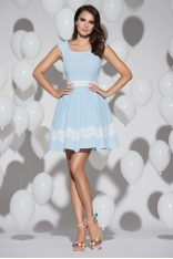 Błękitna Efektowna Dwubarwna Sukienka z Koronką