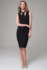 Czarna Dopasowana Midi Sukienka z Wiązanym Szalem