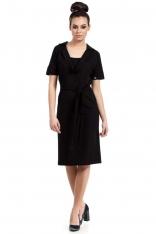 Czarna Sukienka do Kolan z Wykładanym Kołnierzem