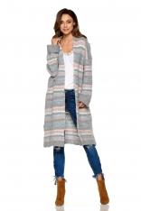 Jasnoszary Ciepły Wzorzysty Sweter Oversize bez Zapięcia