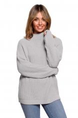 Ciepły Sweter z Krótkim Golfem - Szary