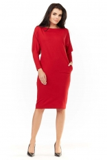 Czerwona Sukienka do Kolan z Nietoperzowymi Rękawami