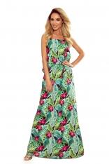 Długa Sukienka na Ramiączkach z Florystycznym Motywem - Zielony