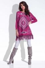 Amarantowy Luźny Sweter z Frędzlami w Azteckie Wzory