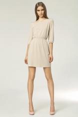 Beżowa Mini Sukienka z Gumkami