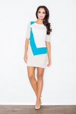 Niebieska Sukienka Mini z Jasnymi Panelami